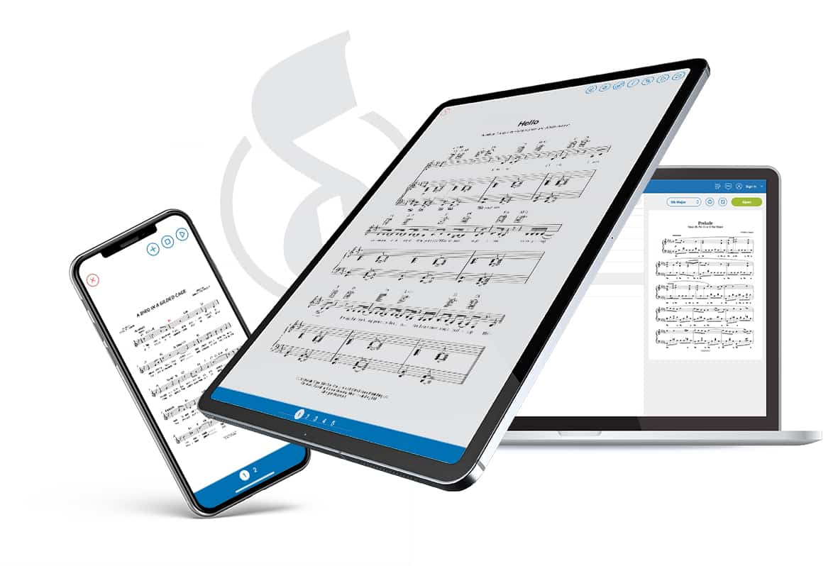 Musicnotes app on iPad, iPhone and Macbook Pro