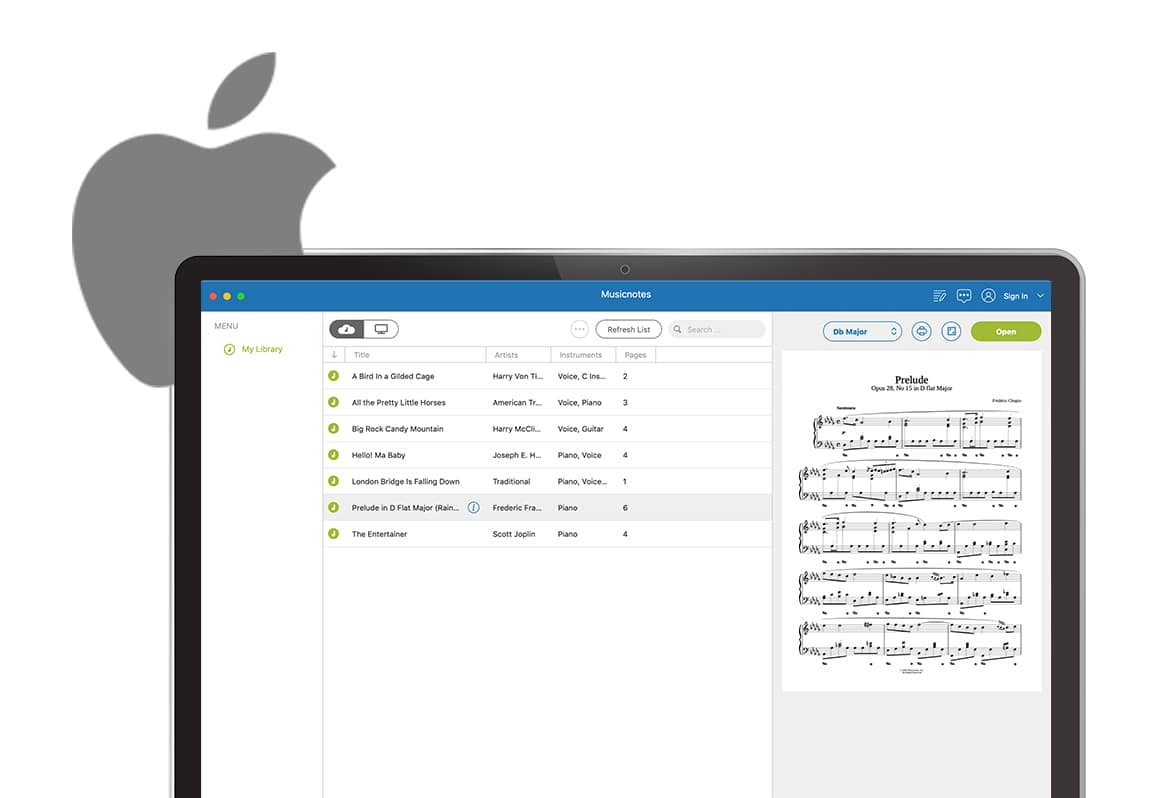Musicnotes app on Mac